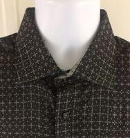 Bugatchi Uomo Shaped Fit EUC Black White Geometric Long Sleeve Shirt -Size L EUC