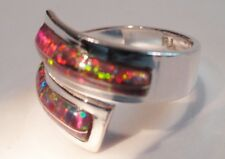 Bright RED FIRE OPAL Silver Wrap Around Band Ring! 6 Kingsman Silver 925 Ladies