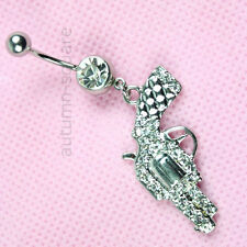 Stainless Steel 1PC Gun Style Crystal Belly Navel Ring Piercing Jewelry New