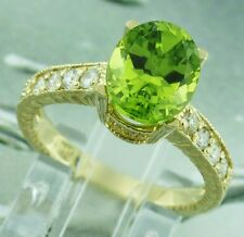 4.23 ct 14k Solid Yellow Gold Natural Diamond & Oval Peridot Ring 4.7 Grams