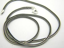 """Sterling silver chain wheat bali style oxidized 1.2mm 18"""" inches 925 silver"""