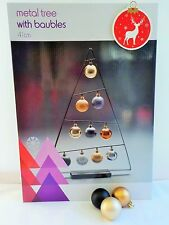 41cm BLACK  METAL CHRISTMAS TREE WITH 10 ASSORTED BAUBLES