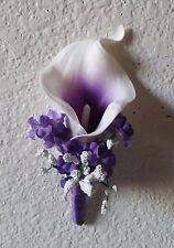 Purple Ivory Calla Lily Boutonniere