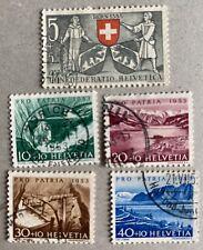 Switzerland 1953 Pro Patria Stamps Used