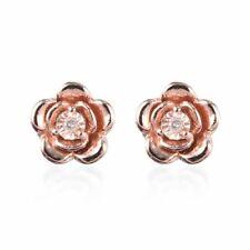Plata esterlina 925 Rosa oro sobre Diamante Pendientes con Pasador solitario Rosa Regalo I3