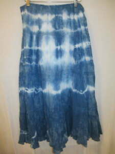 Chaps 100% Cotton Indigo Blue Upcycle Tie Dye Peasant Skirt L