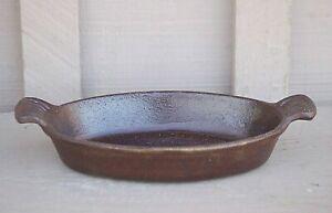 Old Vintage Cast Iron Oval Au Gratin Casserole Dish Pan Kitchen Cookware Tool b
