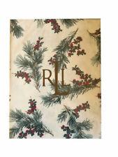 Ralph Lauren Fabric Tablecloth Cedarberry Print Cream 60 x 104 New