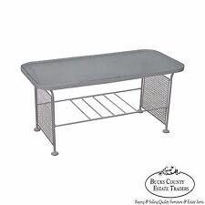 Woodard Vintage White Painted Metal Glass Top Patio Coffee Table