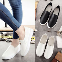 Ladies Women Round Toe Shoes Casual Flat Slip On Sneakers PU Leather Sport Pumps