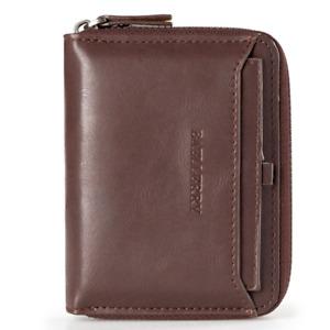Men's Zipper Faux Leather ID Credit Card Wallet Holder Billfold Purse Clutch