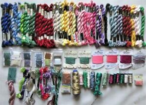 90+ Pc Lot Specialty Threads Needlepoint Needlework  Perle Cotton Silk Metallics