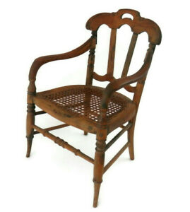 Antique Miniature Chair w/Caned Seat Child Sized or Large Bisque Doll Display