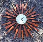 Big sunburst Sputnik Danish teak wall clock iconic 1960s retro design 64cm wide