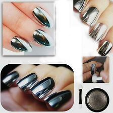 Silver Mirror Effect Chrome Nail Powder Pigment No Polish Foil Nails 2 brush