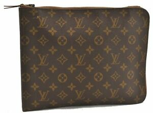 Authentic Louis Vuitton Monogram Poche Documents Brief Case Old Model LV B2645