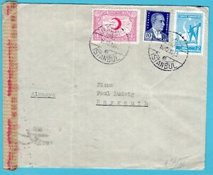 TURKEY censor cover 1943 Istanbul to Bayreuth Germany