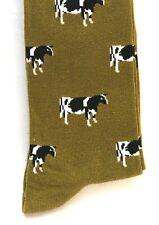 Dairy Cow Freisian Holstein Mens  Socks on Light Green Background Farming Gift