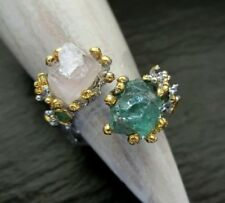 Apatit & Morganit Rohstein Ring 925 Sterlingsilber Handarbeit Größe 57 R1109