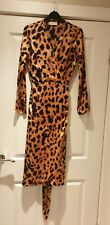 Silkfred Dancing Leopard Pink Wrap Dress Size 8 Worn Once