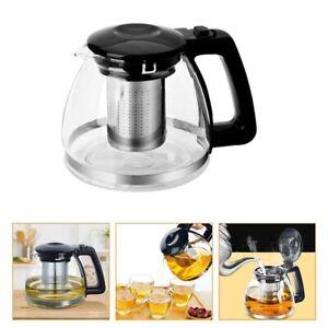 1L Stainless Steel Heat Resistant Glass Teapot Infuser Tea Leaf Tea Bag Kettle