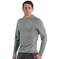 Higher State Mens LS Running Hoodie Grey Sports Gym Hooded Breathable