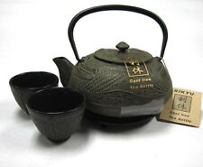 Japanese Dragonfly Cast Iron Tea Teapot Kettle Cups Trivet w/ Strainer Gift Set