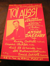 Partition Toi aussi André Dassary 1955 Music Sheet