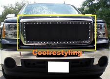For 07 08 09 10 11 12 13 GMC Sierra 1500 Black Wire Mesh Rivet Stud Grille Grill