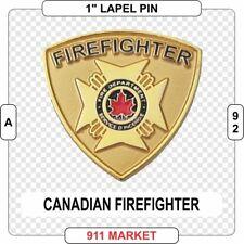 Canadian Firefighter Patch Maltese Cross Lapel Pin Gold Canada Fireman -    A 92