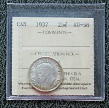1937 CANADA Silver Quarter - ICCS AU58