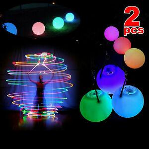 2 Stück Nachtleuchtender Poi LED mehrfarbigen Leuchtpoi Bauchtanz Spielzeug