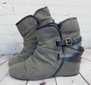 Aldo Women's Gray Hidden Heel Ankle Booties Boots Size 8