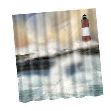 1.8MX1.8M Badezimmer Duschvorhang Sheer Wasserdichte Panel Leuchtturm Wellen