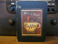 Rise 'n Shine Coffee Primitive Rustic Wooden Sign Block Shelf Sitter 3.5X4.5