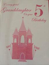 Granddaughter 5th Birthday Card...Glitter Castle