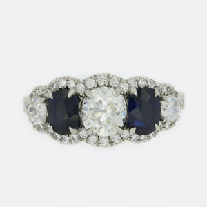 Boodles Engagement Ring- Boodles Oval Cut Diamond and Sapphire Engagement Ring