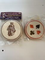 2 Vintage Packages of Paper Coasters- Horses- Playing Cards- NOS