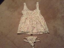 Victoria's Secret Floral Babydoll Country Thong Panty SET Sz Small Ruffles  NWT
