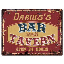 PPBT0606 DARIUS'S BAR and TAVERN Rustic Tin Chic Sign Home Store Decor Gift