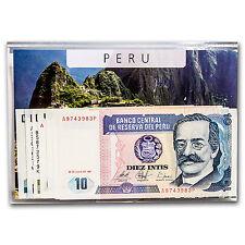 1987-1988 Peru 10-10000 Intis Banknote Set Unc - SKU #46967