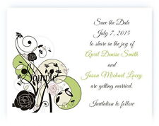 100 Personalized Custom Green Brown Floral Bridal Wedding Save The Date Cards