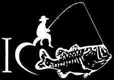 "I Love Fishing Bass Vinyl Decal Sticker Car Truck Window Funny 5""X7"" White Vinyl"