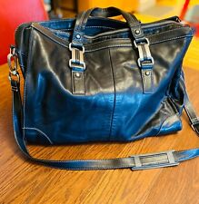 """Perlina NY Black Leather Briefcase Messenger Bag Multiple Compartments17""""x13""""x7"""""""