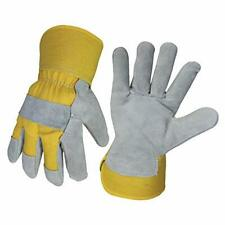 WOLF Leather Work Gloves Yellow Canvas Genuine Cowhide Heavy-duty Shoulder New