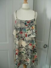 Oh my Love TopShop nude parrot/bird/butterfly ditsy floral cami/slip mini dressS