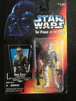 "1995 Star Wars ""The Power of the Force "" Han Solo in Hoth Gear New On Card!!"