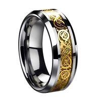 Drachen Muster schraeg Kanten keltisch Ringe Hochzeitsband fuer Maenner Gol P7N7