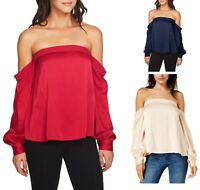 NWT Women Size XS S M L Nordstrom 1.STATE Off The Shoulder Satin Blouse