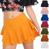 Womens Layered Ruffled Frill Skorts High Waisted Ladies Party Mini Skirt Shorts